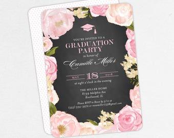 Graduation Invitation, Graduation Announcement, Printable Invitation, Invitation PDF, Printed, Watercolor Flowers, Chalkboard, Pink, Camille