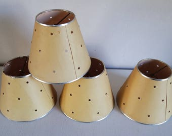 Vintage 50s yellow perforated paper clip lamp shade