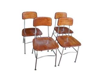 Heywood Wakefield Wood & Chrome School Chairs - Set of 4