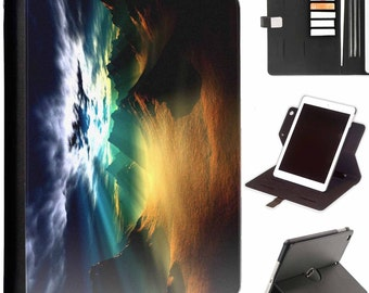 Mystic hills Apple ipad 360 swivel i pad leather case cover with card slots