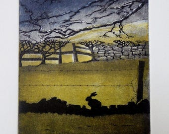 Hare Original Etching, 'Keeping Watch'