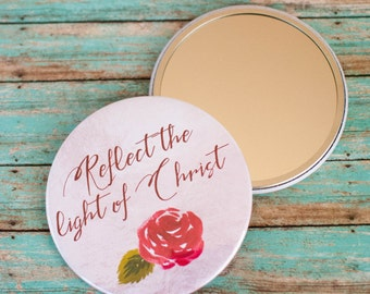 Reflect the Light of Christ Compact Mirror, Christian Purse Makeup Mirror, Confirmation Gifts for Her, 602040