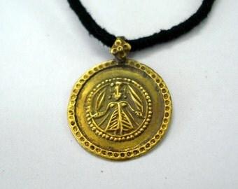 21kt vintage antique gold pendant necklace amulet hindu goddess deity maa