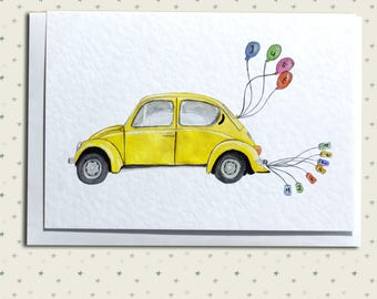 Beetle Wedding Greetings Card - Yellow Classic Volkswagen Beetle - Just Married - Customizable Names & Date