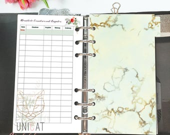 Divider marble für Filofax Personal; download; printable