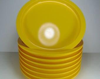 Vintage Dansk Yellow Melamine Plastic Dinner Plates, Set of 8