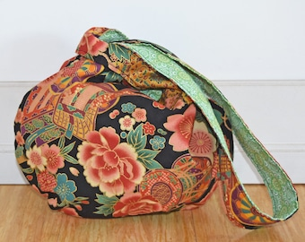 Reversible Japanese Knot Bag - Black with pinks and greens - Medium