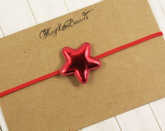 Red star headband, star headband, patriotic headband, July 4th headband, baby 4th of July, toddler headband, newborn headband, girl headband