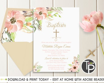 Floral Baptism Invitation, Instant Download, Watercolor Flowers Baptism Invitation, Gold Peach Baptism invitation, Christening Invitation
