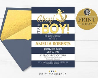 AHOY Its A Boy Baby Shower Invitation, Instant Download, Boy Baby Shower  Invitation,