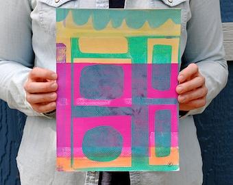 Monoprint Original Monotype Print Acrylic Gelli Plate Print Abstract Modern Wall Art Home Decor