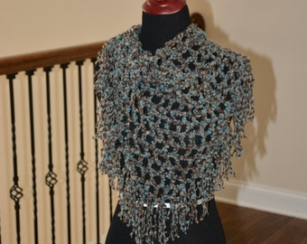 Brown and Teal BOHO Neck Shawl