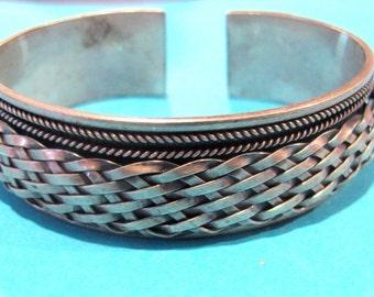 Marvellous Vintage Woven Solid Silver Bangle