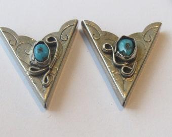 Vintage Sterling Silver & Turquoise Flower Floral Navajo Collar Tips