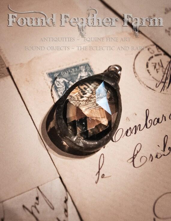 Small Handmade Pewter Soldered Honey Toned Vintage Crystal