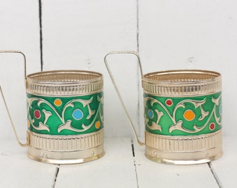 set of 2 Green Tea glass holder Vintage Glass holder cup Russian podstakannik Traditional USSR vintage Metal glass holder Russian Tea
