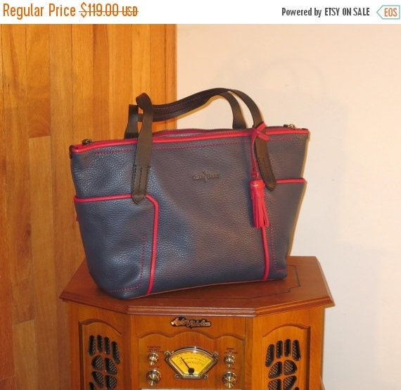 Football Days Sale Cole Haan Red and Blue Pebbled Leather Tote  Carryall- Excellent Condition