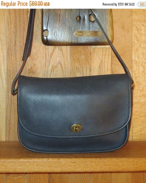 Football Days Sale Coach City Bag In Navy Blue Leather And Solid Brass Hardware-VGC- Made in U.S.A.