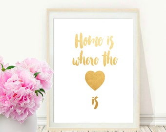 Printable Art, Inspirational Print, Home Is Where the Heart Is,Typography Quote, Home Decor, Motivational Poster, Digital Download, Wall Art