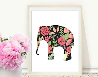 Elephant Print, Printable Wall Art, Abstract Elephant, Modern Wall Art, Nursery Art, Instant Download