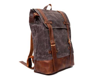 Real Leather Unisex waxed canvas Backpack,Leaf Roll Top Backpack,Laptop Backpack,Travel Bag,Canvas Backpack, Travel Bag,Travel backpack,