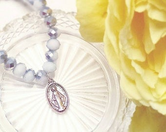 Half Silver, half White, 6×8mm glass faceted bead, Mother Mary medal rosary style bracelet