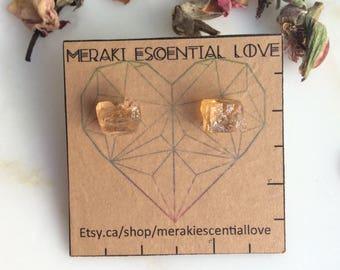 Golden Yellow Topaz Earrings. Raw Topaz Earring Studs. Terminated Golden Topaz. Imperial Topaz. November Birthstone. Boho Jewelry.