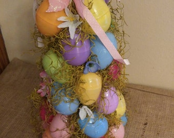 Easter Egg Tree with Spanish moss