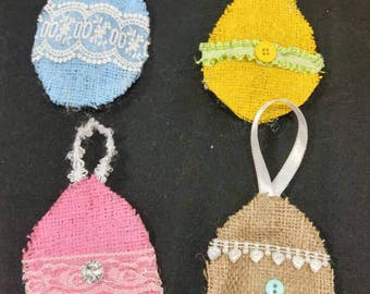Burlap Easter egg ornaments set of 4