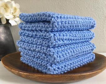 Light Blue Washcloths . Handmade Washcloths . Cotton Washcloths . Crocheted Washcloths . Cotton Dishcloths  . Bathroom Linens . Spa Gift Set