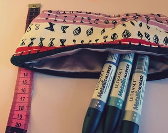 Pink and Red Pencil Case
