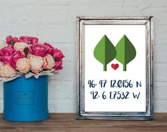 Personalized, Digital Print of Longitude and Latitude Print Home Decor Birthday, Wedding or Anniversary Gift