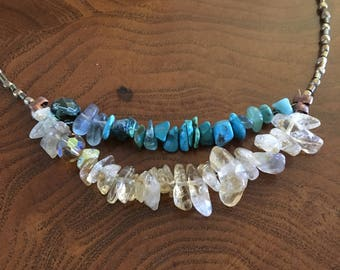 Citrine and turquoise bronze beaded necklace