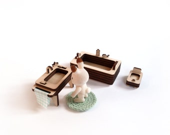 wooden furniture kit for doll's house / Bathroom