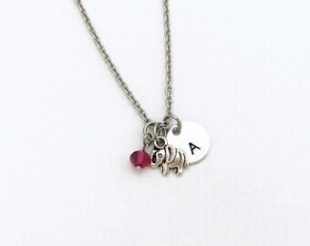 Elephant Initial Jewelry - Tiny Elephant Jewelry - Personalized Initial Elephant Necklace - Elephant Initial Necklace - Elephant Necklace