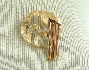 70s flower brooch, gold metal floral brooch, 1970s iris flower pin, minimalist circle pin, vintage brooch, costume jewelry, jewellery