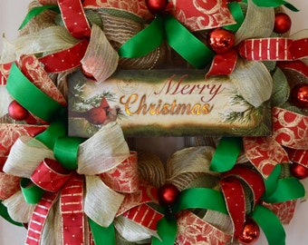 Merry Christmas Burlap and Mesh Wreath with Ornament Garlands and Lit Sign; Classic Traditional Christmas Decor; Winter Door Decor Wreath