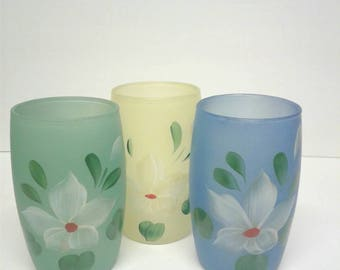 Vintage Hand Painted Glass Set