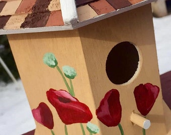 Hand Painted Red Rose Birdhouse