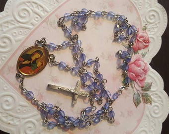 Vintage Petite Rosary....Blue beads....silvertone