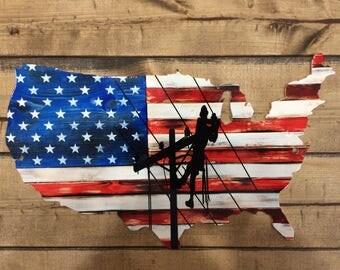 USA Lineman Magnet
