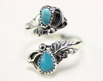 Native American Indian Jewelry Handmade Sterling Silver Turquoise Adjustable Ring