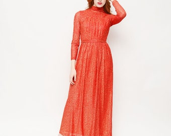 70s Sparkle Maxi Dress - Red, Saturday Night Fever, Turtle Neck, Holiday, Prom