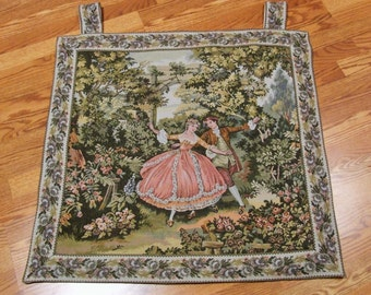 Victorian Romantic Tapestry Wall Hanging, Scenic Victorian Wall Hanging Tapestry, Beautiful French Countryside, Made EGYPT, Wall Tapestry