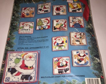 Sale vintage Bucilla 83131 JOLLY SANTAS set of 12 counted cross stitch Christmas ornaments NEW