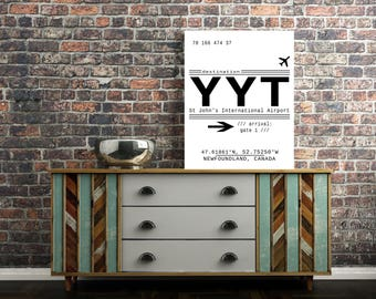 YYT, St John's, Canada International Airport Call Letters. A modern, minimalist, wanderlust typography downloadable print. Instant Download