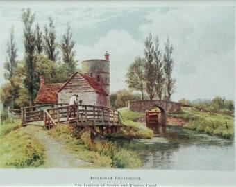 Inglesham Roundhouse English antique print bridge canal landscape mounted A.R. Quinton C1904
