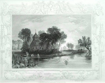 Dorney Church, Bucks English antique print river landscape mounted Tombleson black and white engraving.