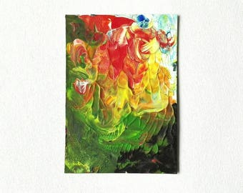 ACEO Abstract Art Original Miniature painting in acrylic ATC Green Yellow Orange Art Card - Composed by Caerys Walsh