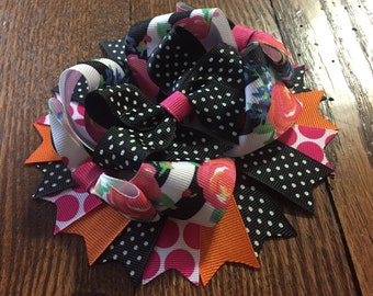 Black and White Foral Over The Top Hair Bow